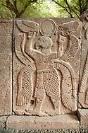 Pictures & images of the North Gate Hittite sculpture stele depicting a winged bird God. 8the century BC.  Karatepe Aslantas Open-Air Museum (Karatepe-Aslantaş Açık Hava Müzesi), Osmaniye Province, Turkey.