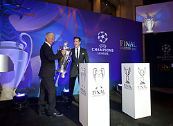 CARDIFF, WALES - Wednesday, August 31, 2016: Former Wales international Ian Rush, a two time winner with Liverpool, delivers the European Cup trophy during a gala dinner at the Cardiff Museum to launch the UEFA Champions League Finals 2017 to be held in Cardiff. (Pic by David Rawcliffe/Propaganda)