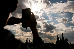 July 13, 2018 - Moscow, Russia - 180713 People take pictures of Saint Basil's Cathedral during the FIFA World Cup on July 13, 2018 in Moscow..Photo: Petter Arvidson / BILDBYRN / kod PA / 92086 (Credit Image: © Petter Arvidson/Bildbyran via ZUMA Press)
