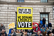 Put It To The People march for a Peoples Vote on 23rd March 2019 in London, United Kingdom. With less than one week until the UK is supposed to be leaving the European Union, the final result still hangs in the balance and protesters gathered in their tens of thousands to make political leaders take notice and to give the British public a vote on the final Brexit deal. A placard says Put it to the People