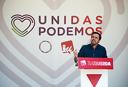 March 30, 2019 - Malaga, MALAGA, Spain - The leader of united left political party and candidate from Málaga by the coalition 'United We Can' to the congress Alberto Garzón is seen speaking during a public event of an electoral pre-campaign ahead of the Spanish general elections on 28 April. (Credit Image: © Jesus Merida/SOPA Images via ZUMA Wire)