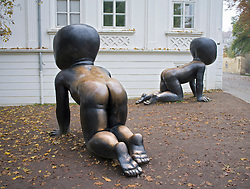 Sculptures outside Kampa Museum in Mala Strana in Prague in Czech Republic