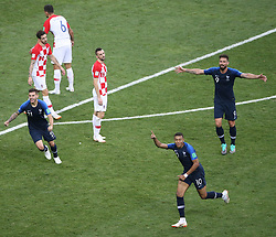 MOSCOW, July 15, 2018  Kylian Mbappe (2nd R) of France celebrates scoring during the 2018 FIFA World Cup final match between France and Croatia in Moscow, Russia, July 15, 2018. (Credit Image: © Li Ming/Xinhua via ZUMA Wire)