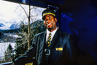 Davy Registe, Conductor, Alaska Railroad scenic rail tour between Grandview and Anchorage, Alaska USA