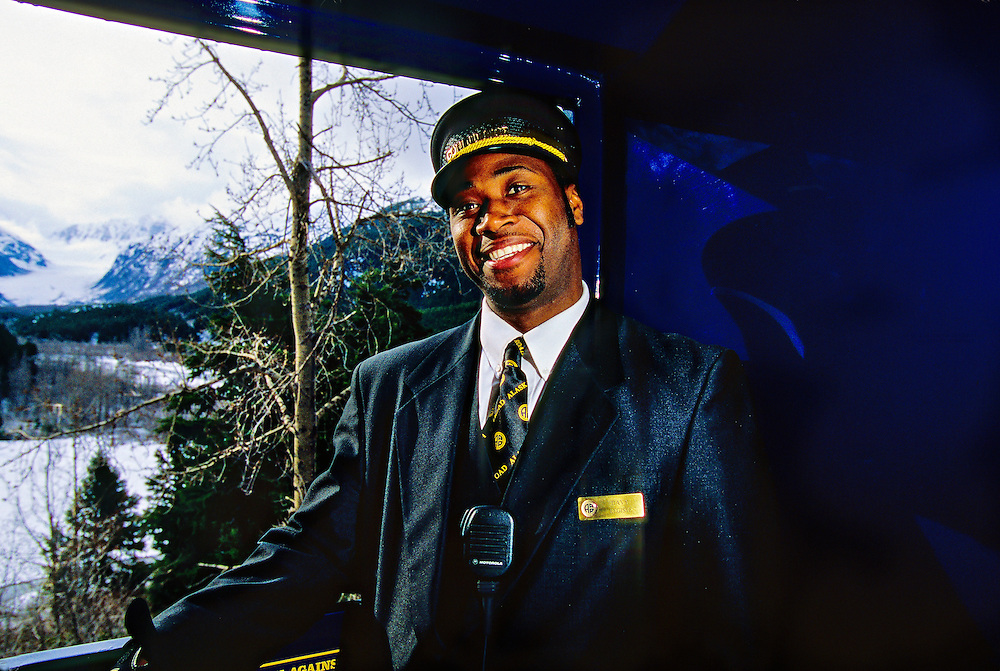 Davy Registe, Conductor, Alaska Railroad scenic rail tour between Grandview and Anchorage, Alaska USA