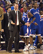Kansas head coach Bill Self reacts after a foul call against the Jayhawks, during the first half against Kansas State at Bramlage Coliseum in Manhattan, Kansas, March 4, 2006.  The Jayhawks won 66-52.