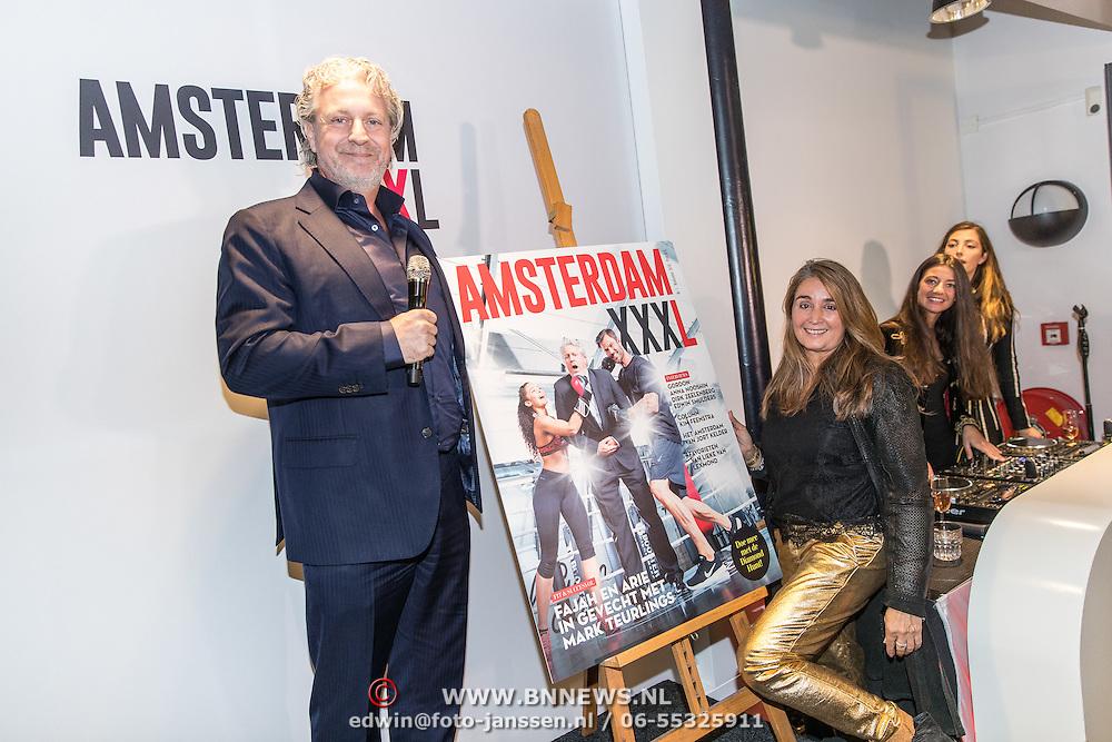 NLD/Amsterdam/20161122 - Lancering XXXL Magazine, hoofdredactrice Jimena Rico en Mark Teurlings onthullen het eerste blad
