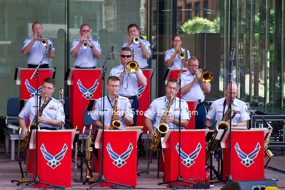 """The U.S. air force """"Band of Mid-America"""" playing on a street in Chicago, Illinois, USA"""