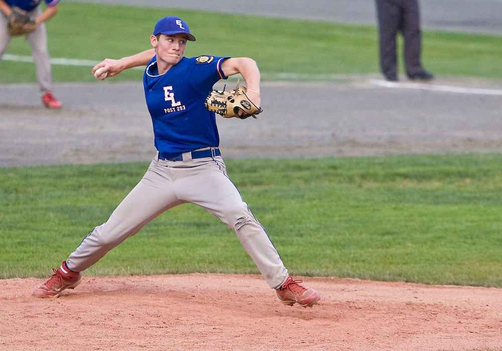 MIDDLETOWN, CT - 09 AUGUST 2010 -.East Longmeadow Post 293 pitcher Matt O'Neil during Monday's American Legion Northeast Regional Tournament Championship game against Branford Post 83 at Palmer Field in Middletown. East Longmeadow lost, 2-1..Photo by Josalee Thrift
