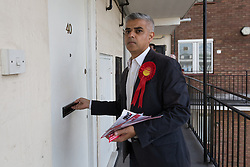 © Licensed to London News Pictures. 30/05/2015. London, UK. Sadiq Khan joins Labour Party activists in Stepney, Tower Hamlets in east London to support canvassing for John Biggs to become Tower Hamlets Mayor. The Tower Hamlets Mayoral election will be re-run on 11th June after a High Court election petition found the previously elected mayor, Lutfur Rahman guilty of corrupt and illegal practices. Photo credit : Vickie Flores/LNP