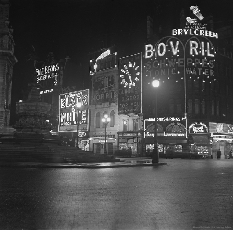 Piccadilly Circus by Night, London, 1936