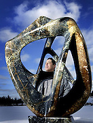 Sculptor Paul Bruneau of Ferguson Falls, Ont., is seen at his home/studio on Wednesday Feb 7, 2007. Bruneau is an Ojibway from the Mattagami First Nations near Timmins, Ontario. He sculpts both native works and contemporary works in mediums such as serpentine, marble, slate, pipe stone, soapstone, ivory, and dear and moose antler.  .Photo By Sean Kilpatrick.