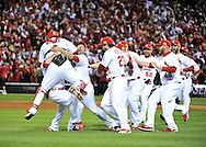 The St. Louis Cardinals celebrate after defeating the the Texas Rangers in game 7 of the World Series against at Busch Stadium on October 27, 2011 in St. Louis. The Cardinals defeated the Rangers 6-2 to win the World Series.  (UPI)