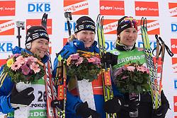 Second placed Anna Carin Olofsson-Zidek of Sweden, winner Helena Jonsson of Sweden and third placed Anastasiya Kuzmina of Slovakia at Women 15 km Individual of e.on Ruhrgas IBU World Cup Biathlon Pokljuka, on December 17, 2009, in Pokljuka, Slovenia. (Photo by Vid Ponikvar / Sportida)