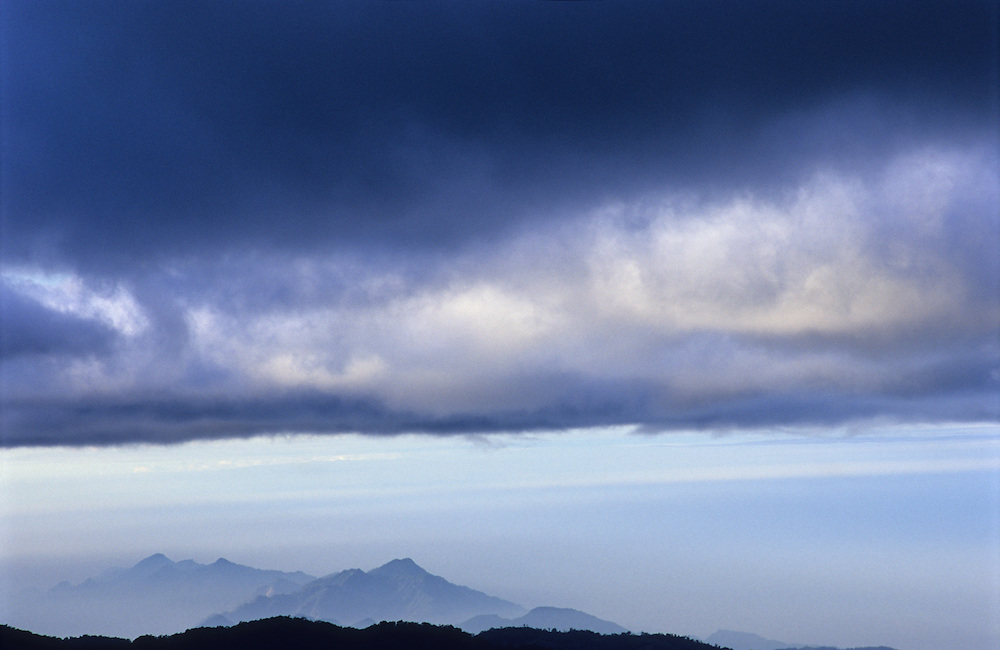 Morning breaks over the mountains of central Taiwan in Alishan, national park.