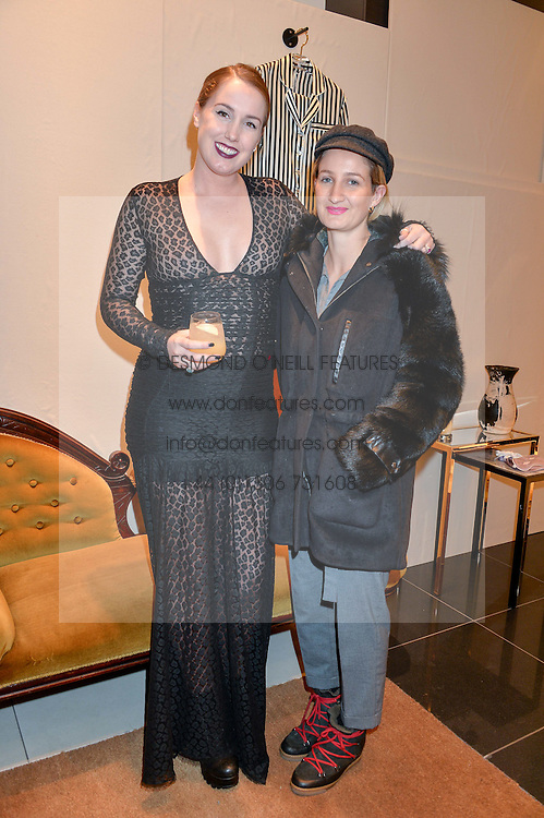Left to right, OLIVIA VON HALLE and ZOE JORDAN at a party to celebrate the launch of Olivia von Halle, 151 Sloane Street, London on 25thNovember 2015