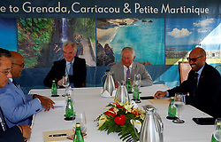 The Prince of Wales (centre right) joins a Blue Economy Roundtable meeting at the Spice Island Beach Resort during a one day visit to the Caribbean island of Grenada.