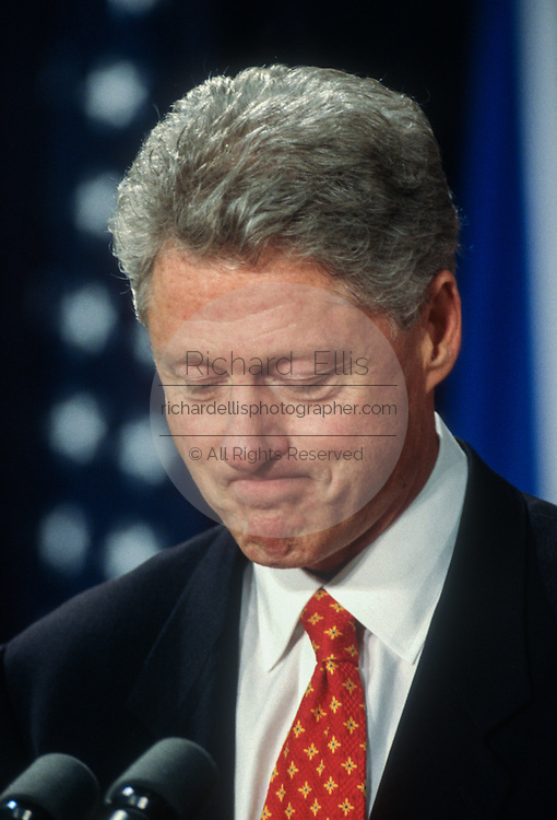 U.S. President Clinton answers reporters questions on the Monica Lewinsky scandal September 16, 1998 at the briefing room of the White House in Washington, DC.