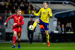 March 23, 2019 - Stockholm, SWEDEN - 190323 Nicusor Bancu of Romania and Viktor Claesson of Sweden during the UEFA Euro Qualifier football match between Sweden and Romania on March 23, 2019 in Stockholm. (Credit Image: © Mathilda Ahlberg/Bildbyran via ZUMA Press)