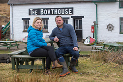 Rebecca and Rhuri Munro at the Boathouse restaurant, which Rebecca helps to run. Feature on the community on the island of Ulva, who have been awarded £4.4m in funding for their island buyout.