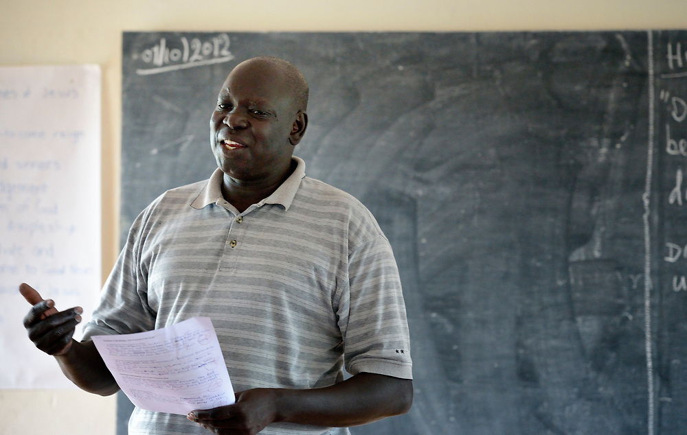 Brother Joseph Alak Deng, a De La Salle Christian Brother, teaches a class in a teacher training institute in Yambio, South Sudan. The newly independent country faces a critical shortage of trained teachers, and several religious groups are pitching in to help. The institute is sponsored by Solidarity with Solidarity with South Sudan, an international network of Catholic groups providing training for teachers, health care workers, and pastoral agents in South Sudan.