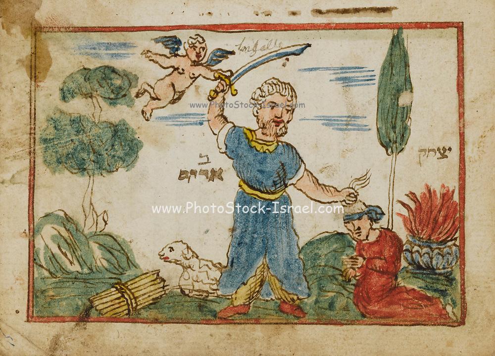 Abraham sacrifices his son Isaac from an 18th century Hebrew Manuscript Tefilot u-piyuṭim (Prayers and songs) illuminated colour manuscript by Mordo, Eliʻezer;