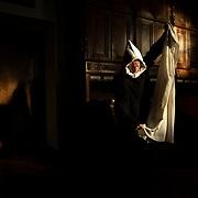 A young monk prepares himself in the sacristy before mass. Solesmes on 18-10-19<br /> Un jeune moine se prépare à la sacristie avant la messe. Solesmes le 18-10-19