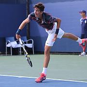 Thanasi Kokkinakis, Australia, in action against Borna Coric, Croatia, during the Junior Boys' Singles Final at the US Open. Flushing. New York, USA. 8th September 2013. Photo Tim Clayton