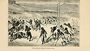 Choctaw Indians playing ball (Lacrosse) engraving on wood From The human race by Figuier, Louis, (1819-1894) Publication in 1872 Publisher: New York, Appleton