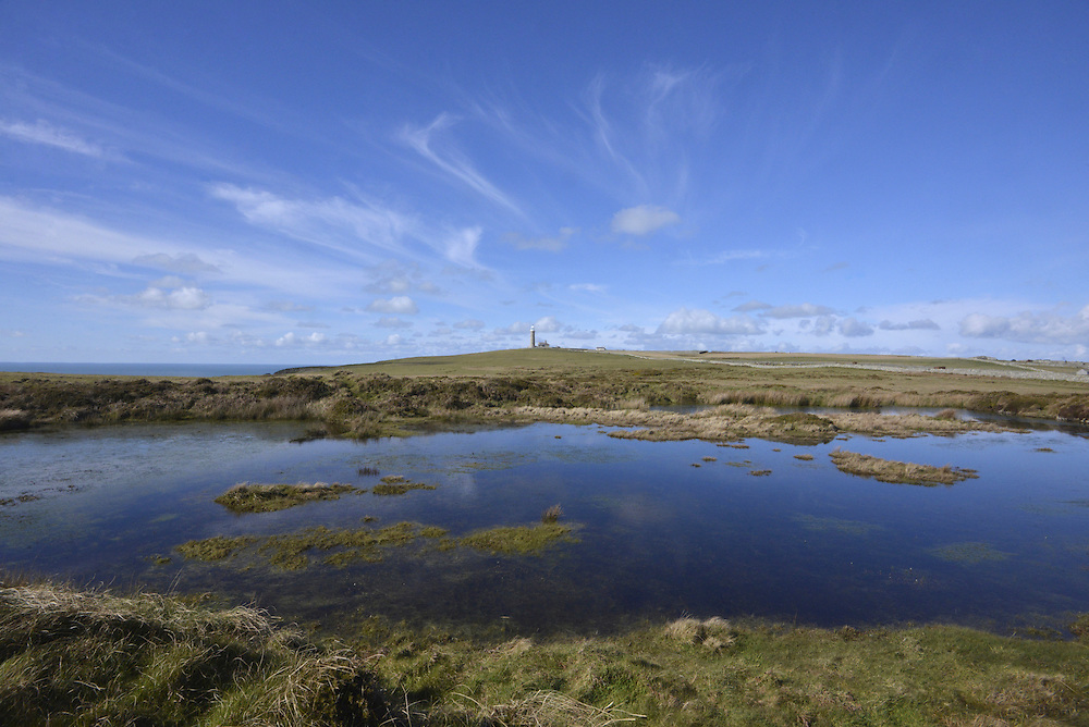 Rocket Pole Pond and the Old Light, Lundy, Devon.