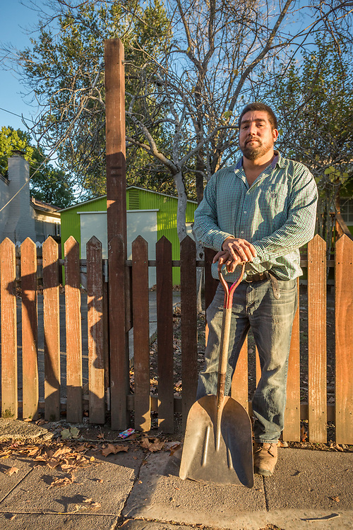 Landscaper Juan Hernandez pauses after a day's work cleaning up a property on Lake Street in Calistoga.