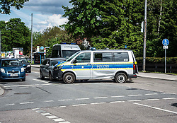 May 20, 2017 - MüNchen, Bayern, Germany - A Munich police vehicle was involved in a collision at the corner of Bodenseestr. and Aubingerstr at the border of Aubing and Pasing.  The Unfallkommando was on the scene investigating and thus no further information was available at this time. (Credit Image: © Sachelle Babbar via ZUMA Wire)