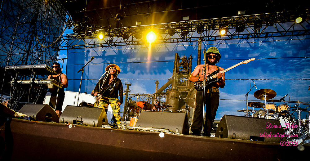 Contact Collective performs on the Wind Creek Steel Stage  at Musikfest. Black Violin and Contact Collective play at Musikfest on August 15, 2021. Musikfest, a festival of ArtsQuest, is held August 6 –15, 2021 in Bethlehem, Pa..