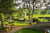 evening light on a large country garden