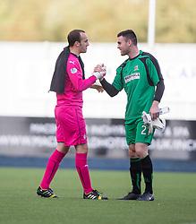 Falkirk's keeper Jamie MacDonald and Alloa Athletic's keeper Craig McDowall.<br /> Falkirk 2 v 1 Alloa Athletic, Scottish Championship game played 4/10/2014 at The Falkirk Stadium.