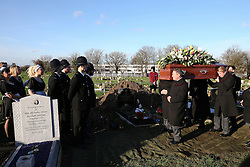 © Licensed to London News Pictures. 09/12/2015. London, UK. The coffin being carried to the grave... The funeral of former brothel keeper Cynthia Payne takes place at the South London Crematorium.  In 1980 Cynthia Payne was sentenced to 18 months for running a brothel at her house on Ambleside Avenue in Streatham. It was alleged, at the time, that judges and Members of Parliament were visitors to her establishment. Photo credit: Peter Macdiarmid/LNP