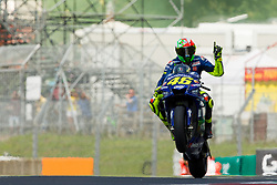 June 2, 2018 - Mugello, FI, Italy - Valentino Rossi of Movistar Yamaha MotoGP celebrate the pole position of the Oakley Grand Prix of Italy, at International  Circuit of Mugello, on June 2, 2018 in Mugello, Italy  (Credit Image: © Danilo Di Giovanni/NurPhoto via ZUMA Press)