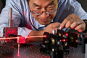 Norfolk State University's professor Kyo D. Song in the laser lab at the William P. Robinson, Sr. Technology Center.
