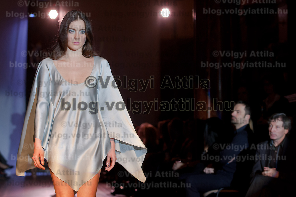 Model presents a creation by Hungarian haute couture designer Barbara Leber during a fashion show dedicated to the day of water in Budapest, Hungary on March 22, 2011. ATTILA VOLGYI