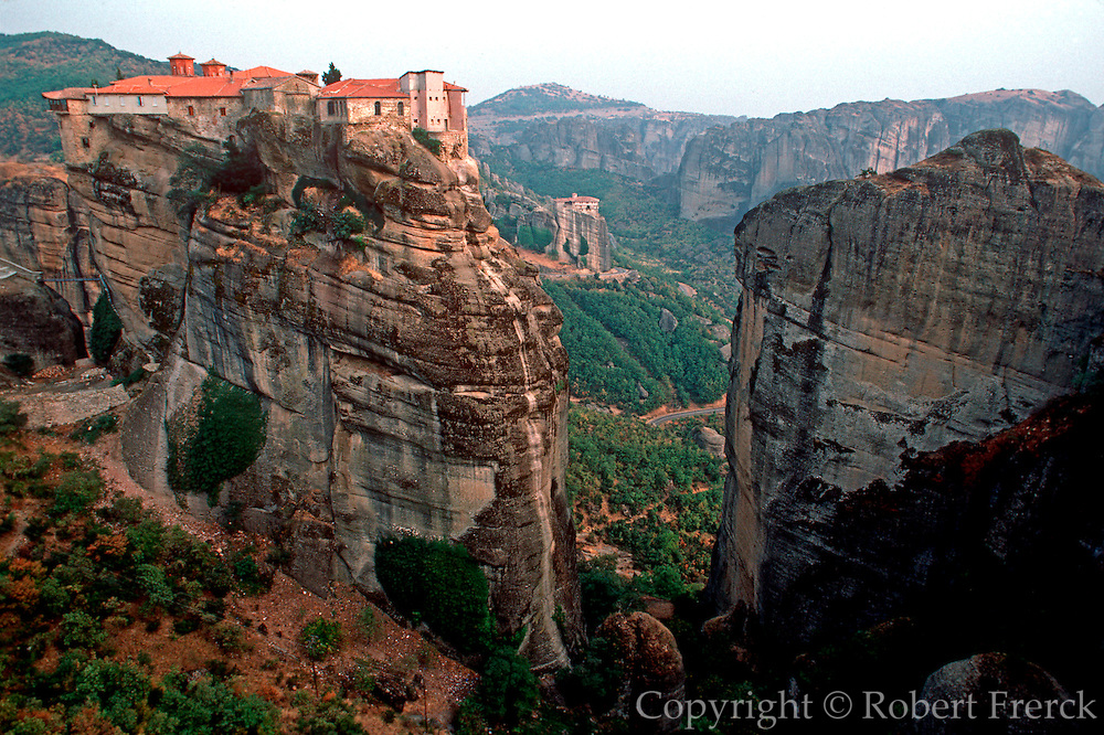 GREECE, HISTORIC SITES Meteora; Barlaam Monastery; a medieval monastic community built for protection on sheer rock formations in 1536