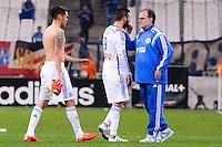 Deception Lucas OCAMPOS / Andre Pierre GIGNAC / Marcelo BIELSA - 24.04.2015 - Marseille / Lorient - 34eme journee de Ligue 1<br />Photo : Gaston Petrelli / Icon Sport