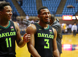 Jan 21, 2019; Morgantown, WV, USA; Baylor Bears guard King McClure (3) smiles after beating the West Virginia Mountaineers at WVU Coliseum. Mandatory Credit: Ben Queen-USA TODAY Sports