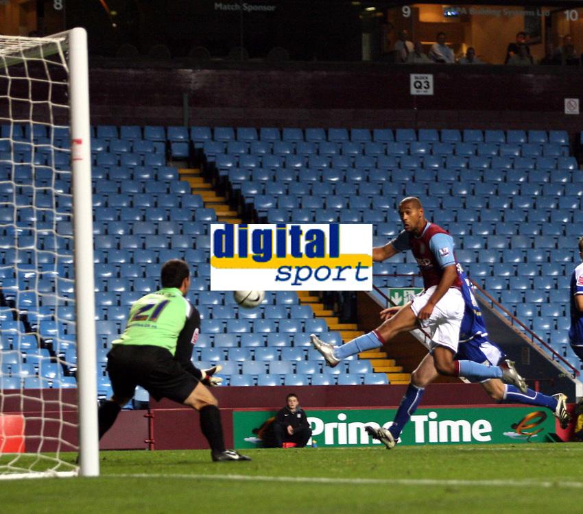 Photo: Mark Stephenson.<br /> Aston Villa v Leicester City. Carling Cup. 26/09/2007.Villa's luck Moore comes close in the secound half