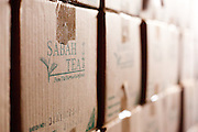 Boxes of tea for export in factory at Sabah Tea Plantation, Ranau