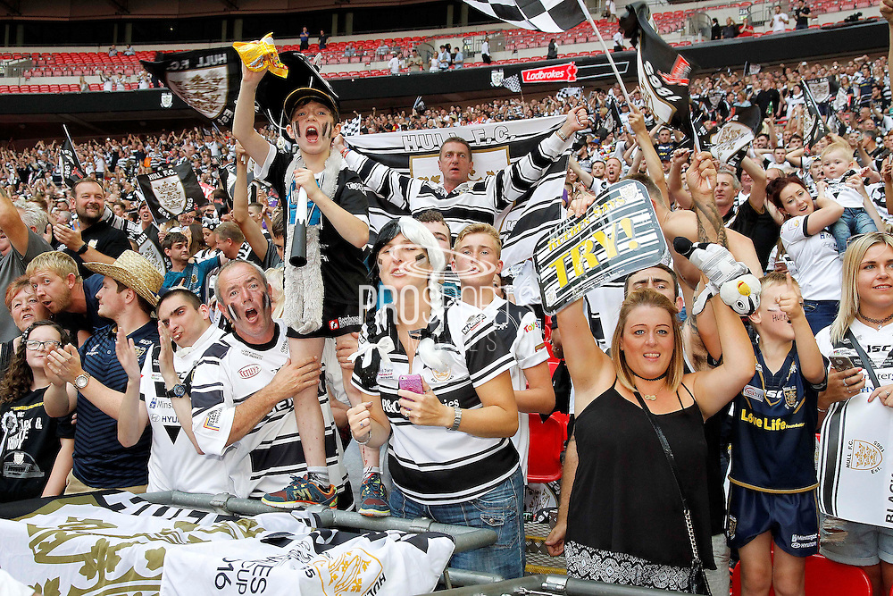 Happy Hull fans celebrate their win at the Challenge Cup Final 2016 match between Warrington Wolves and Hull FC at Wembley Stadium, London, England on 27 August 2016. Photo by Craig Galloway.