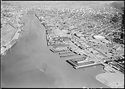 """Ackroyd 08414-3. """"Portland aerial views. July 3, 1958"""" (5x7"""") (NW Portland waterfront looking south. Shaver on right, West Coast Terminals)"""