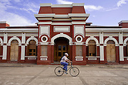 09 JANUARY 2007 - GRANADA, NICARAGUA: The old train station in Granada, Nicaragua. Granada, founded in 1524, is one of the oldest cities in the Americas. Granada was relatively untouched by either the Nicaraguan revolution or the Contra War, so its colonial architecture survived relatively unscathed. It has emerged as the heart of Nicaragua's tourism revival. The trains no longer run in Nicaragua and the station is now government offices. PHOTO BY JACK KURTZ