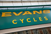 Sign for the cycle shop brand Evans Cycles in Birmingham, United Kingdom.