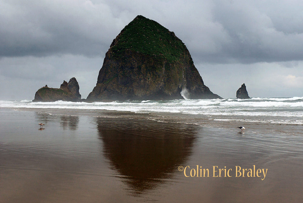 Haystack Rock is towers over Canon Beach in Oregon as a storm passes.