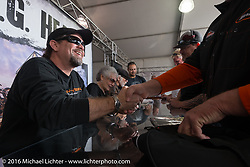 Bill Davidson at the Davidson family autograph session at the Harley-Davidson footprint at Daytona International Speedway during the Daytona Bike Week 75th Anniversary event. FL, USA. Saturday March 5, 2016.  Photography ©2016 Michael Lichter.